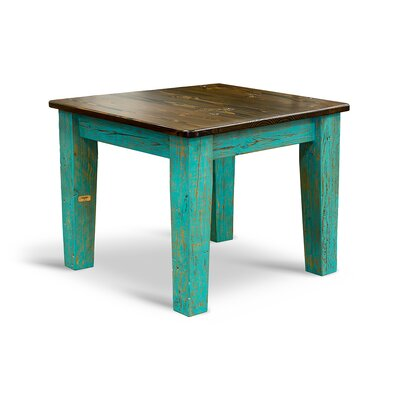 Farm Bar Height Dining Table Top Finish / Base Finish: Ebony / Turquoise