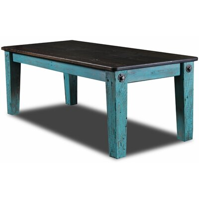 Prairie Bolt Dining Table Top Finish / Base Finish: Ebony / Turquoise