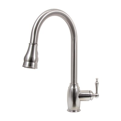 Pull Down Dual Spray Single Handle Kitchen Faucet Finish: Brushed Nickel