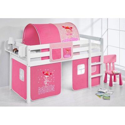 Halbhochbett Zauberfee mit Hochbettvorhang 90cm x 190cm | Kinderzimmer > Kinderbetten > Hochbetten | Pink | Massivholz - Kiefer - Lackiert - Baumwolle - Holz | Lilokids