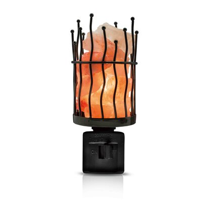 Himalayan Hand Carved Salt Crystal Metal Night Light
