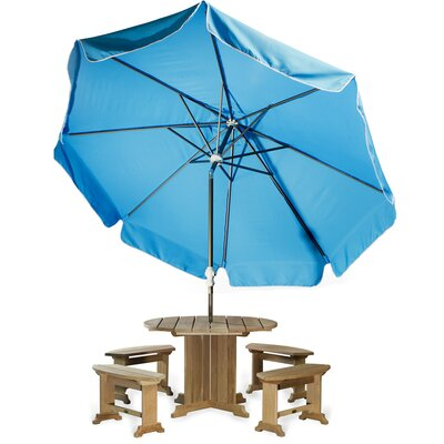 10' Java Teak Drape Umbrella Fabric: Light Blue