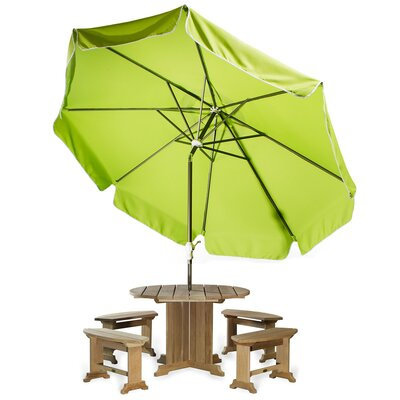 10 Java Teak Drape Umbrella Fabric: Lime Green