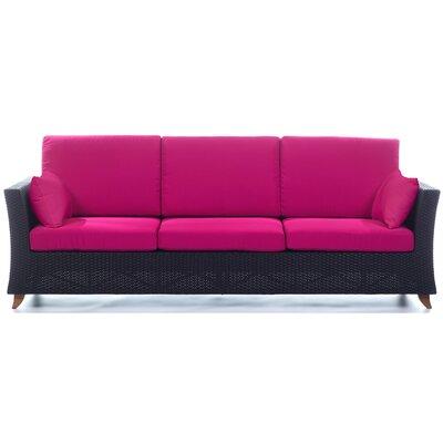 Rattan Deep Seating Sofa with Cushions Fabric: Fuchsia