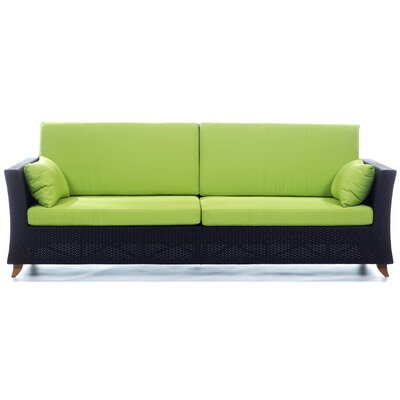 Rattan Deep Seating Sofa with Cushions Fabric: Green