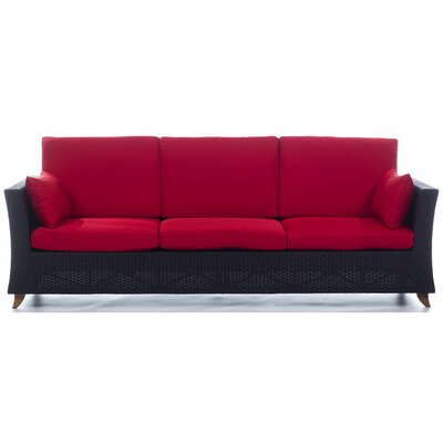 Rattan Deep Seating Sofa with Cushions Fabric: Red