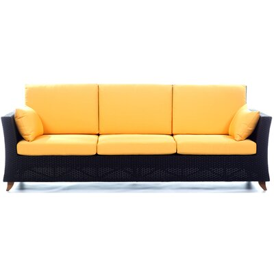 Rattan Deep Seating Sofa with Cushions Fabric: Yellow