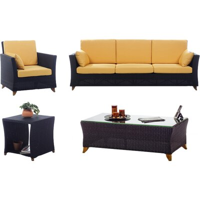 4 Piece Deep Seating Group with Cushions Fabric: Yellow