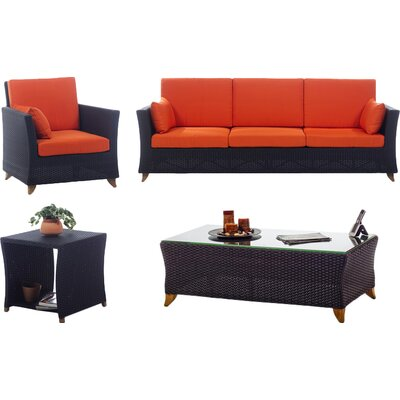 4 Piece Deep Seating Group with Cushions Fabric: Orange