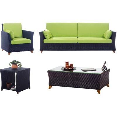 4 Piece Deep Seating Group with Cushions Fabric: Green