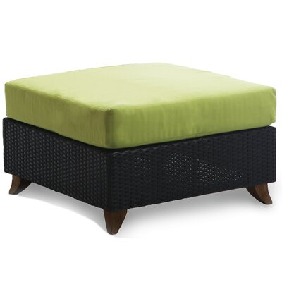Scottsmoor Rattan Ottoman with Cushion Fabric: Green
