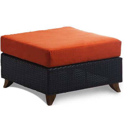 Scottsmoor Rattan Ottoman with Cushion Fabric: Orange