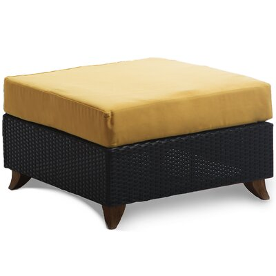 Scottsmoor Rattan Ottoman with Cushion Fabric: Yellow