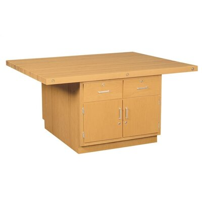 Four Station Wooden Workbench with Two Door Cabinet Number of Vices: 4 Vices, Storage: 2 Drawers and 2 Doors Cabinet (on each side)