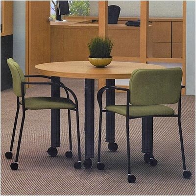 Abco Unity Executive 5' Conference Table - Top Color: Fusion Maple, Edge Type: Strata, Paint Finish: Slate Grey