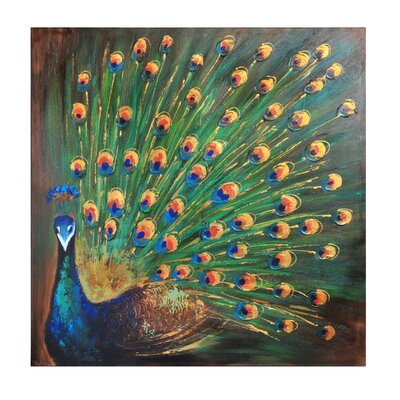 Peacock Painting Print On Wrapped Canvas