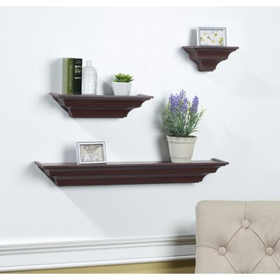 3 Piece Floating Shelf Set Color: Red