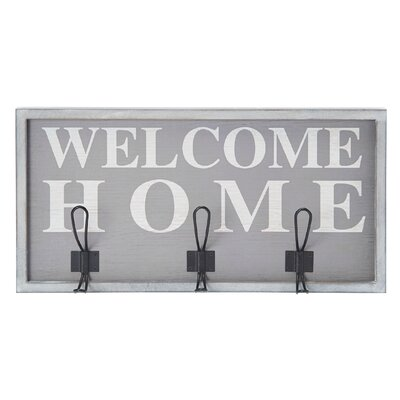 "Welcome Home"" 3 Hook Wall Mounted Coat Rack 5155400"