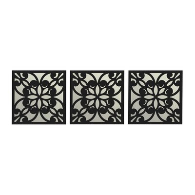 Square Flower Wood Mirror 5095389