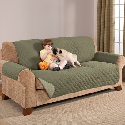 Home Solutions Microfiber Sofa Slipcover Upholstery: Olive/Sage