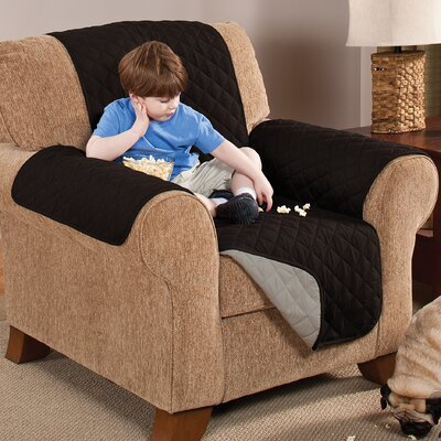 Home Solutions Microfiber Armchair Slipcover Upholstery: Black/Grey