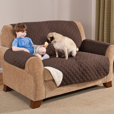 Home Solutions Box Cushion Loveseat Slipcover Upholstery: Chocolate/Tan