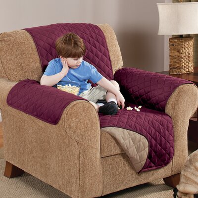 Home Solutions Box Cushion Armchair Slipcover Upholstery: Wine/Mocha