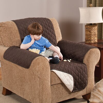 Home Solutions Box Cushion Armchair Slipcover Upholstery: Chocolate/Tan