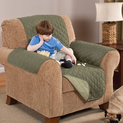 Home Solutions Box Cushion Armchair Slipcover Upholstery: Olive/Sage