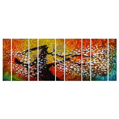 """Gigantic Tree of Life Metal Wall Art Decor, Oversize Colourful 3D Artwork for Modern, 9-Panels Measures 86"""" x 32"""" F5EE7FE7617E4B3186A446A287BBD006"""