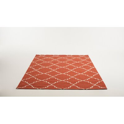 Hand Woven Wool Terracota/White Area Rug