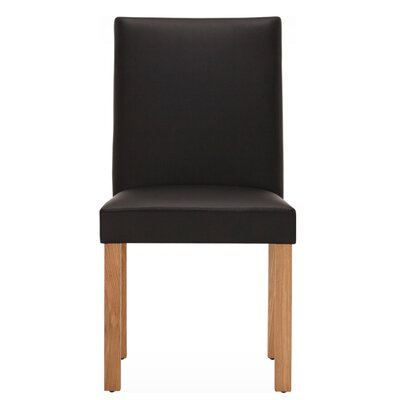 Genuine Leather Upholstered Dining Chair (Set of 2) Body Fabric: Black, Leg Color: Java