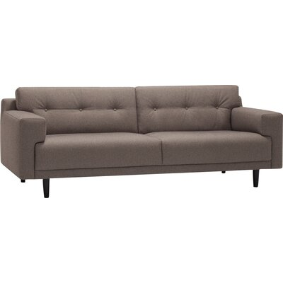 Remi Sofa Fabric: Key Largo Mocha, Finish: Walnut