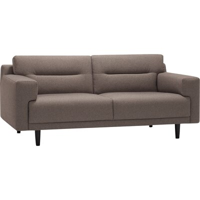 Remi Loveseat Fabric: Key Largo Chocolate, Finish: Walnut