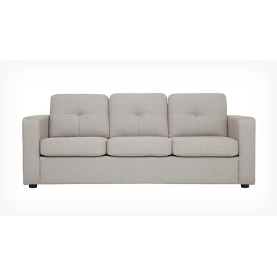 Solo Sofa Body Fabric: Mila Grey, Leg Color: Onyx Angled Cylinder