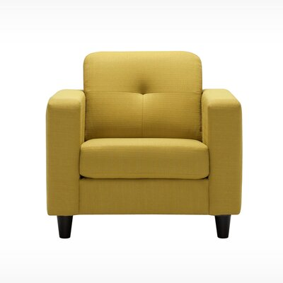 Solo Armchair Body Fabric: Key Largo Teal, Leg Color: Onyx Angled Cylinder