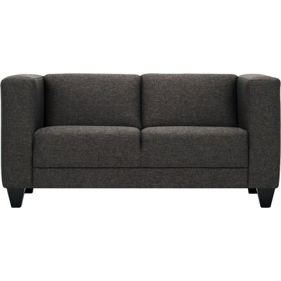 Stella Chesterfield Loveseat Body Fabric: Mila Silver, Leg Color: Onyx Slanted Block