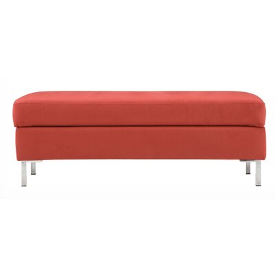 Salema Storage Ottoman Body Fabric: Jet Vermillion, Leg Color: Aluminum