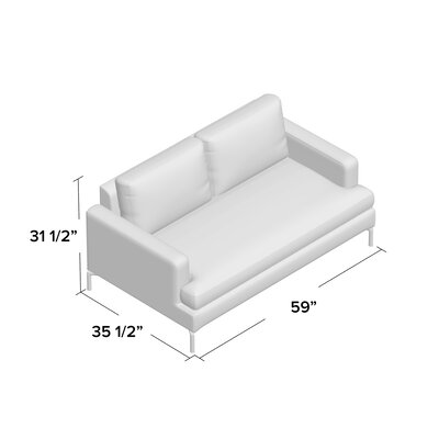 Eve Loveseat Body Fabric: Polo Oyster