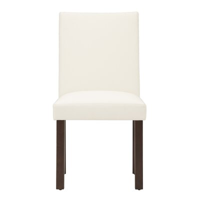 Genuine Leather Upholstered Dining Chair (Set of 2) Body Fabric: White, Leg Color: Java