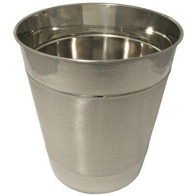 Double Ribbed Stainless Steel Wastebasket AA202