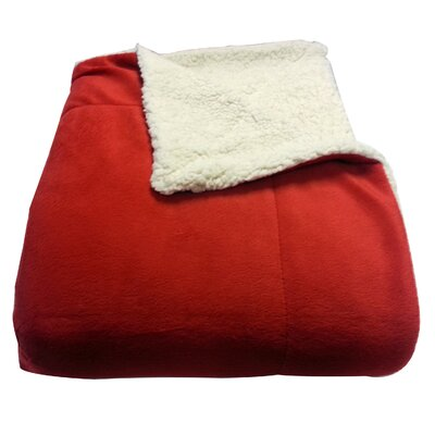 Micromink / Sherpa Throw Color: Red