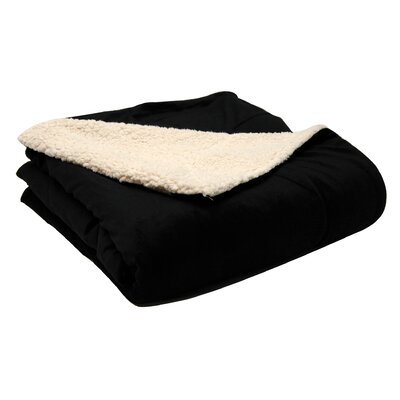 Micromink / Sherpa Throw Color: Black