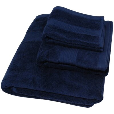 Soft Touch Cotton 3 Piece Towel Set Color: Navy