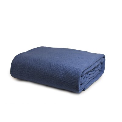 Luxury Cotton Blanket Color: Blue, Size: Full / Queen