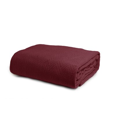 Luxury Cotton Blanket Color: Wine, Size: Full / Queen
