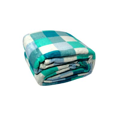 Luxury Printed Check Plush Blanket Color: Blue, Size: Full / Queen