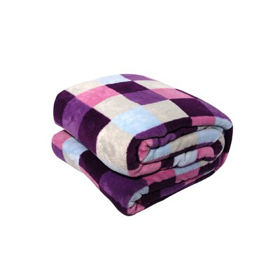 Luxury Printed Check Plush Blanket Color: Purple, Size: King