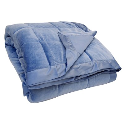 All-Season Down Alternative Plush Blanket Color: Smoke Blue, Size: Full / Queen