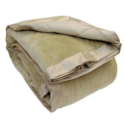 All-Season Down Alternative Plush Blanket Color: Sage, Size: Full / Queen